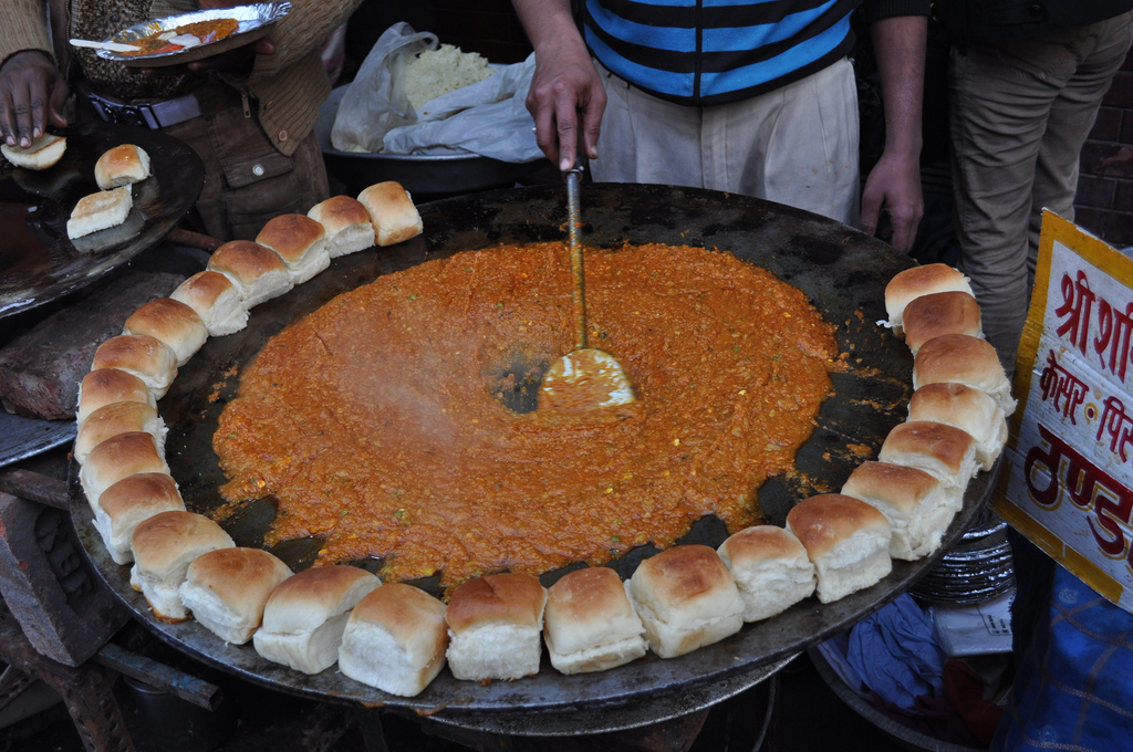 Pao bhaji cooked on the street in India